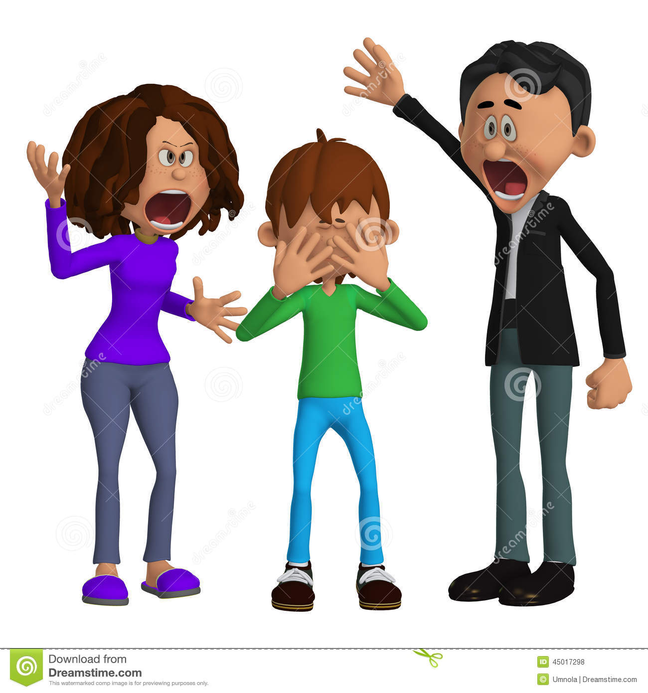 Parents Angry With A Child Stock Illustration Image