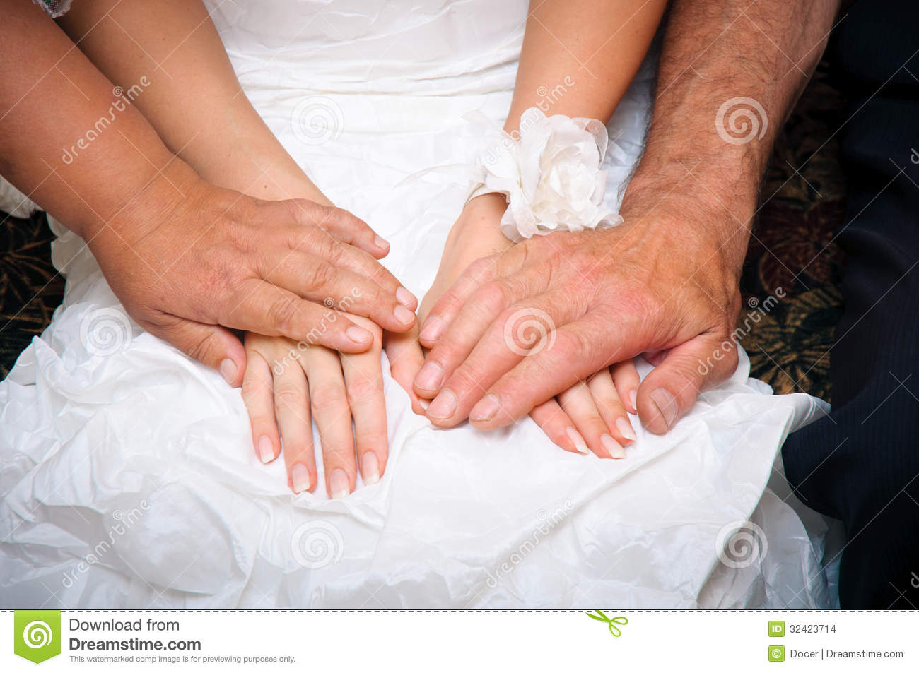 Parents Blessing And Supporting For Bride In A Wedding Dress