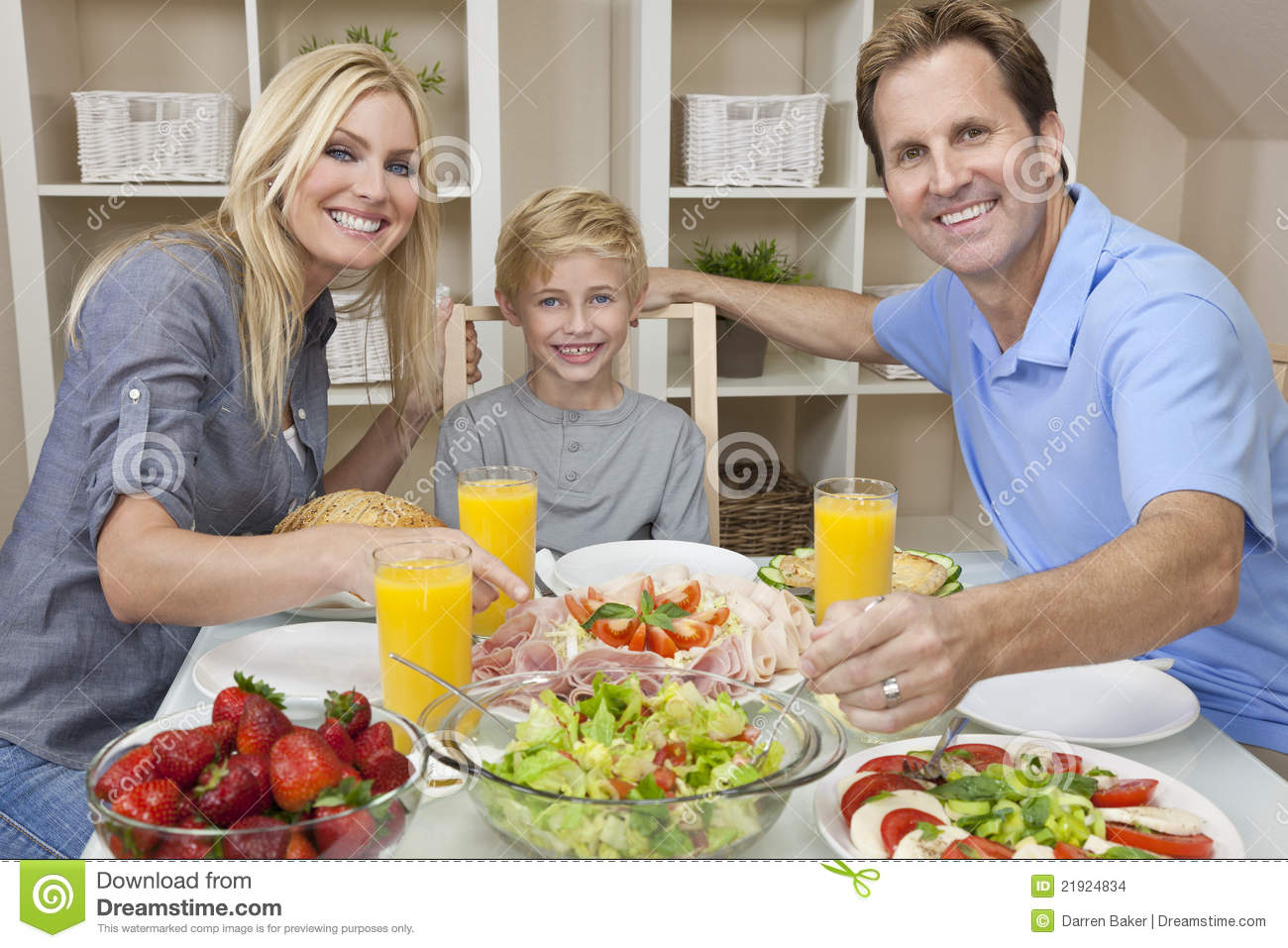 Dining Table With Food family eating healthy food salad dining table stock photos, images