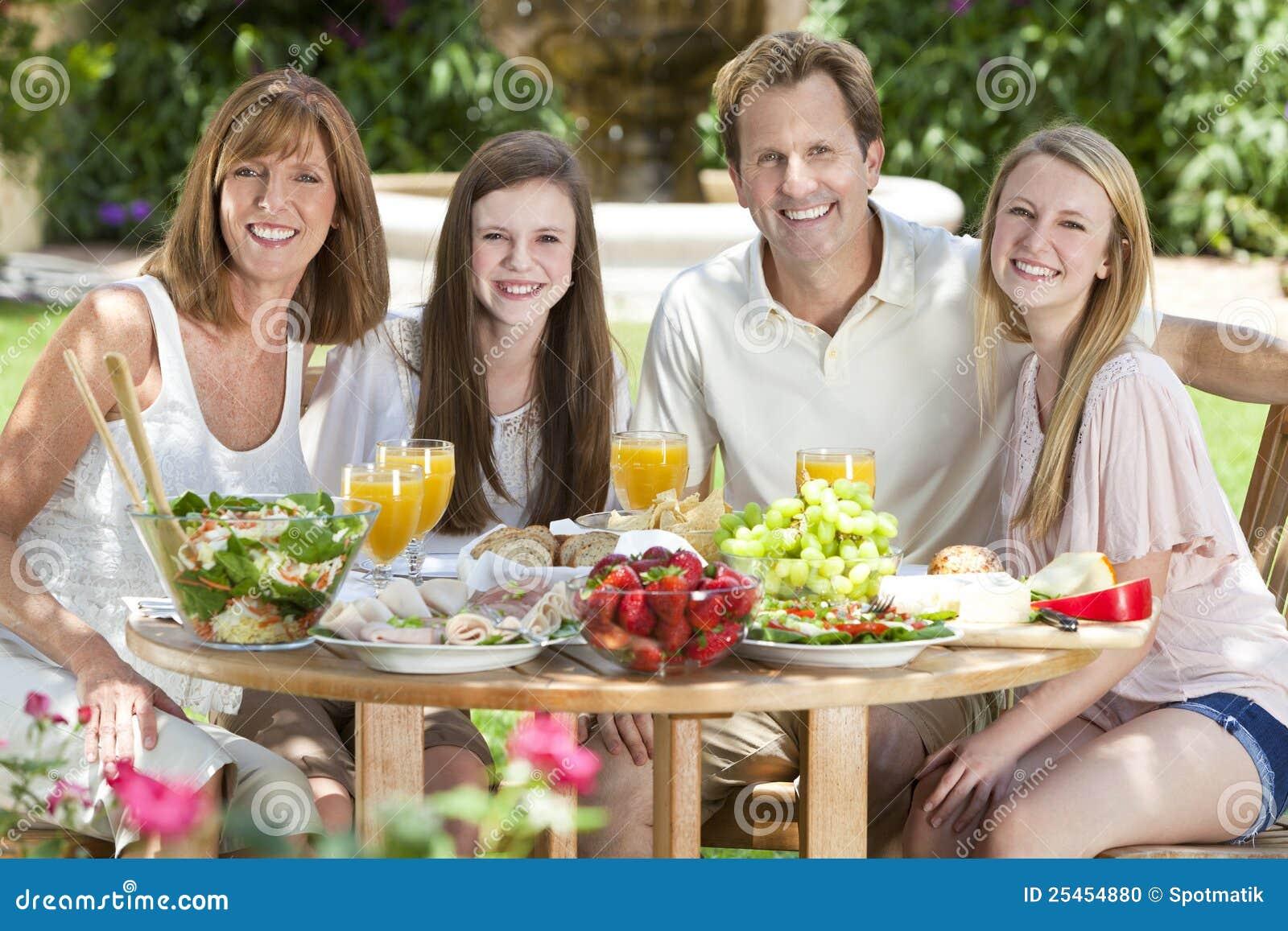 Family Eating Outside Parents Children Famil...