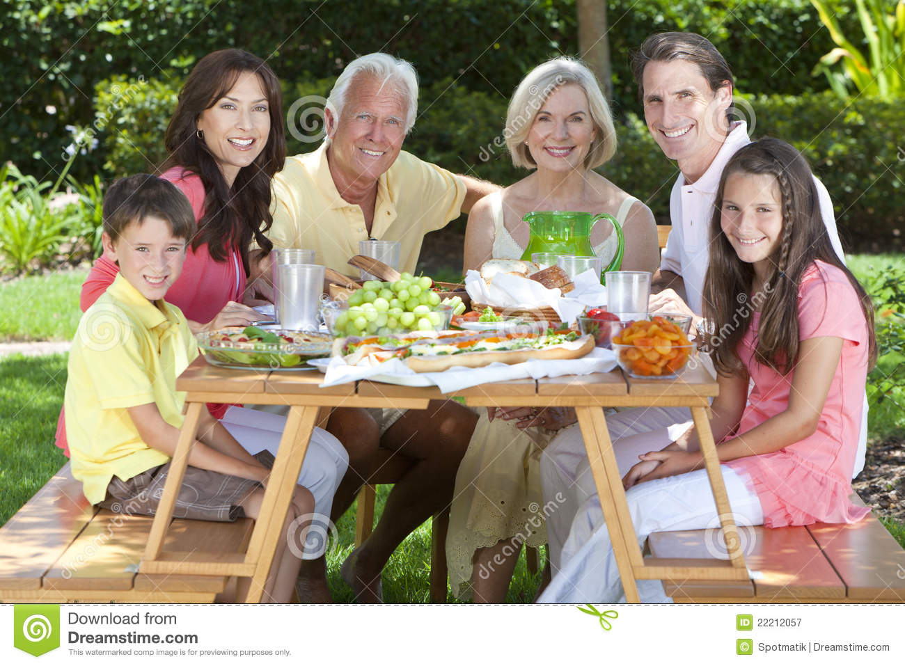 Parents Grandparents Children Family Eating Stock Image ...