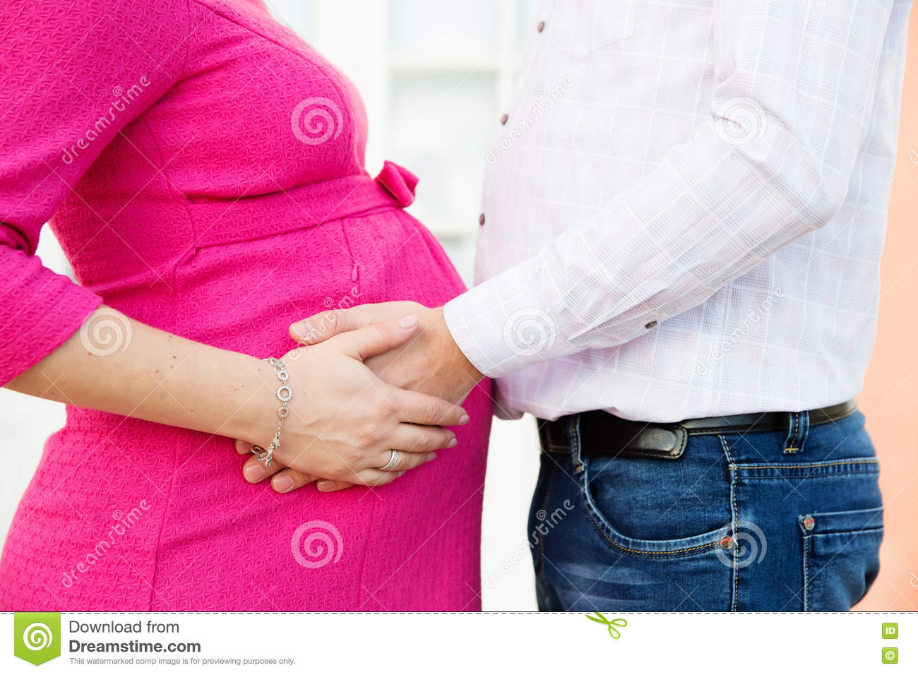 Parents Hands On The Pregnant Belly Stock Image - Image of expecting ...
