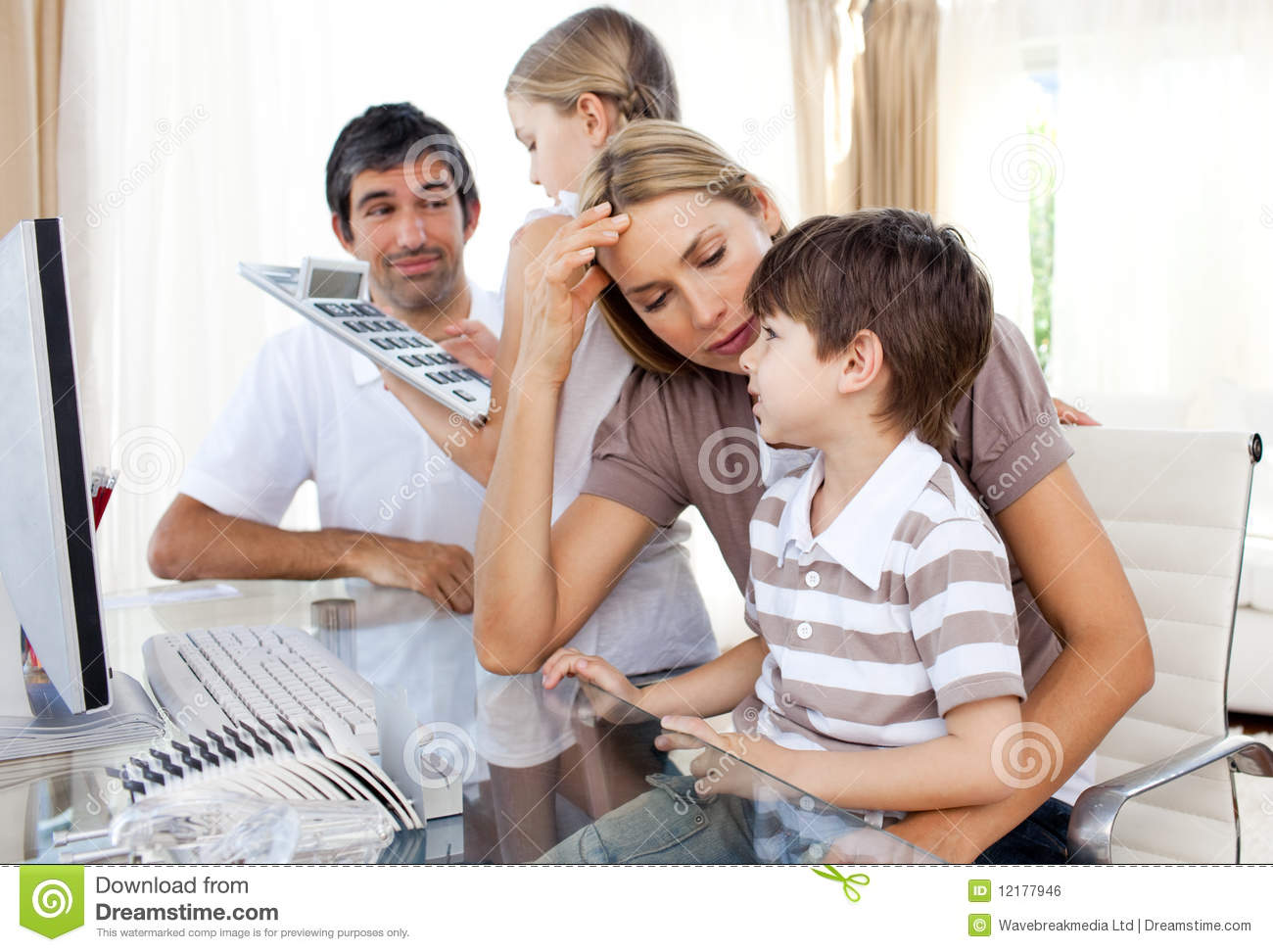 Parents Helping Their Children With Homework Stock Image   Image     Parents helping their children do homework Royalty Free Stock Image