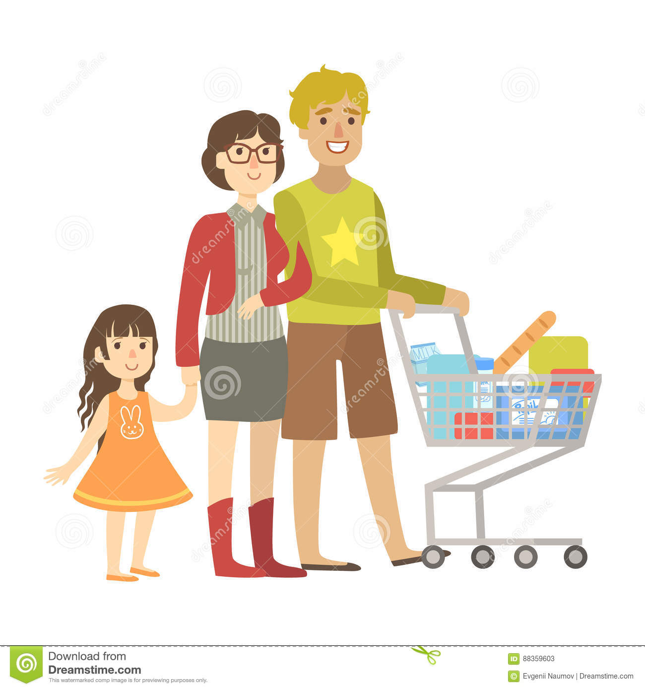 Parents And Little Daughter Shopping For Groceries In Supermarket, Illustration From Happy Loving Families Series