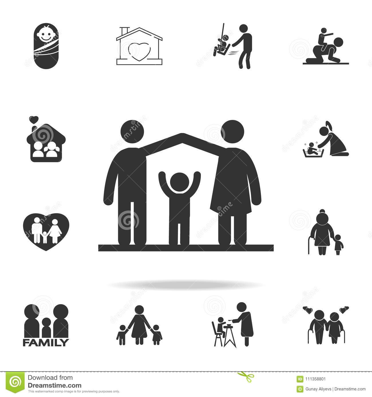 Parents Protect The Child Icon Detailed Set Of Human Body Part