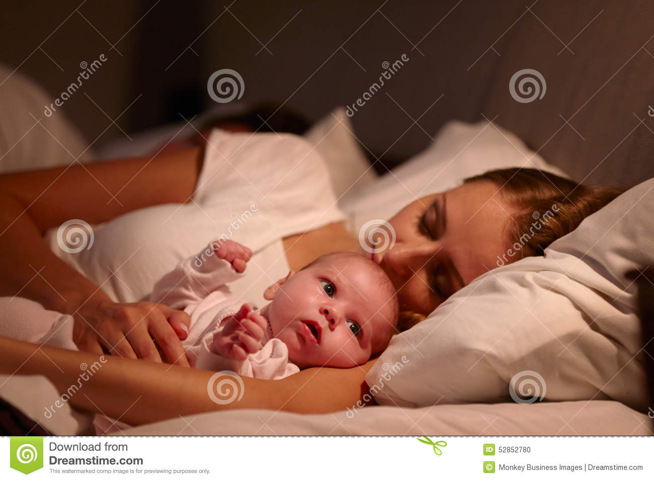 Baby bed with parents - Parents Sleeping In Bed With Newborn Baby Stock Photo