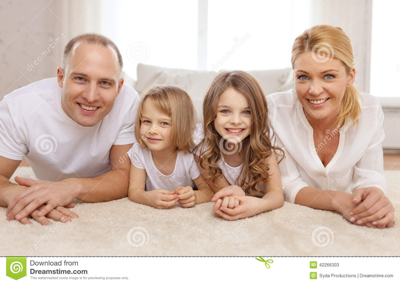 Family, children and home concept - smiling family with and two little ...