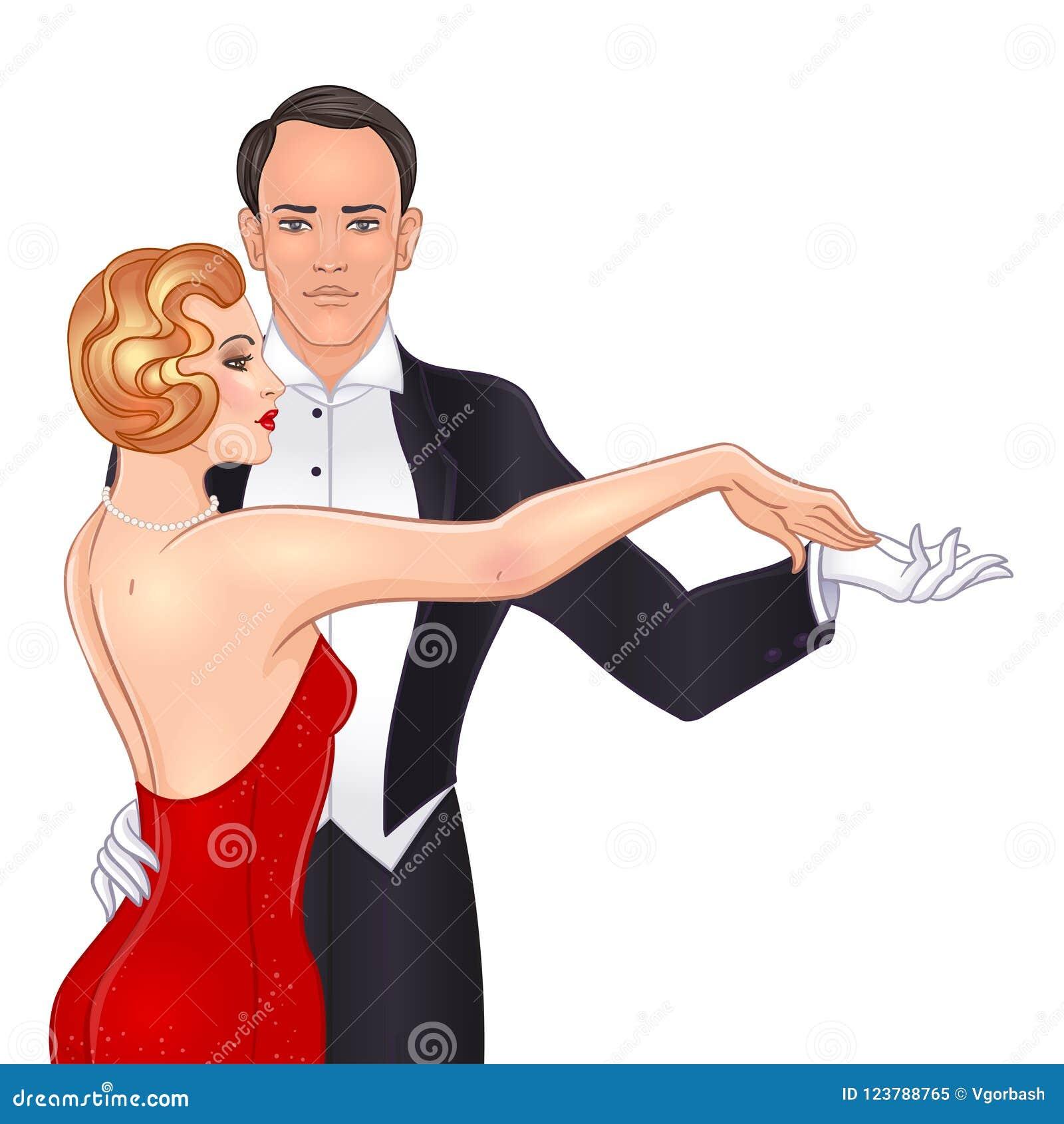 Pares bonitos no tango da dança do estilo do art deco Forma retro: