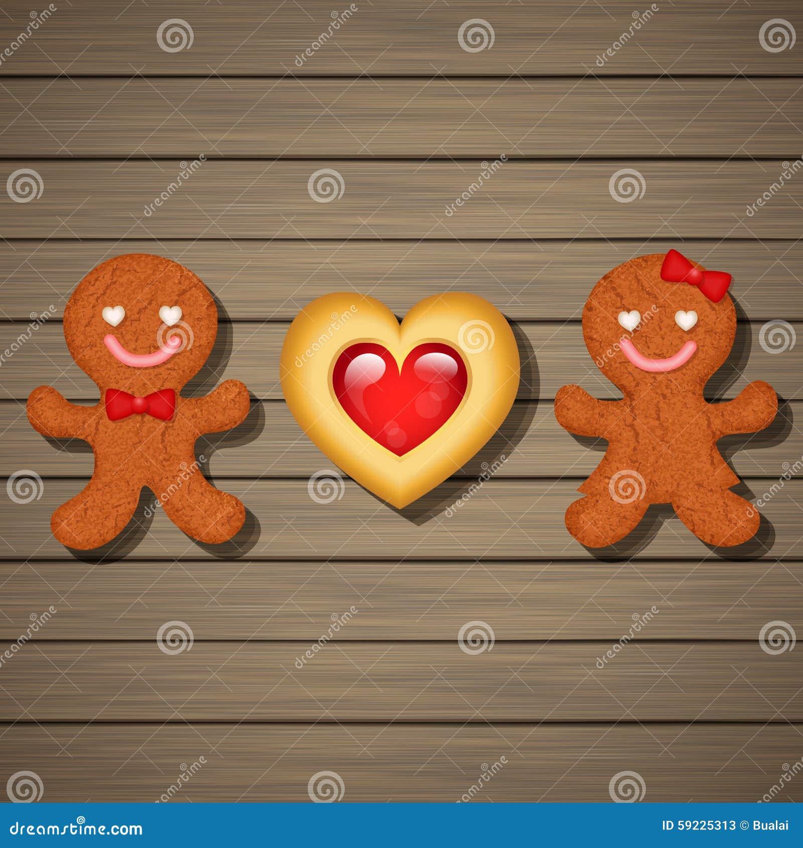 Download Pares Cariñosos De Las Galletas Del Pan De Jengibre Y De La Galleta Del Corazón De La Fresa Ilustración del Vector - Ilustración de postre, homemade: 59225313