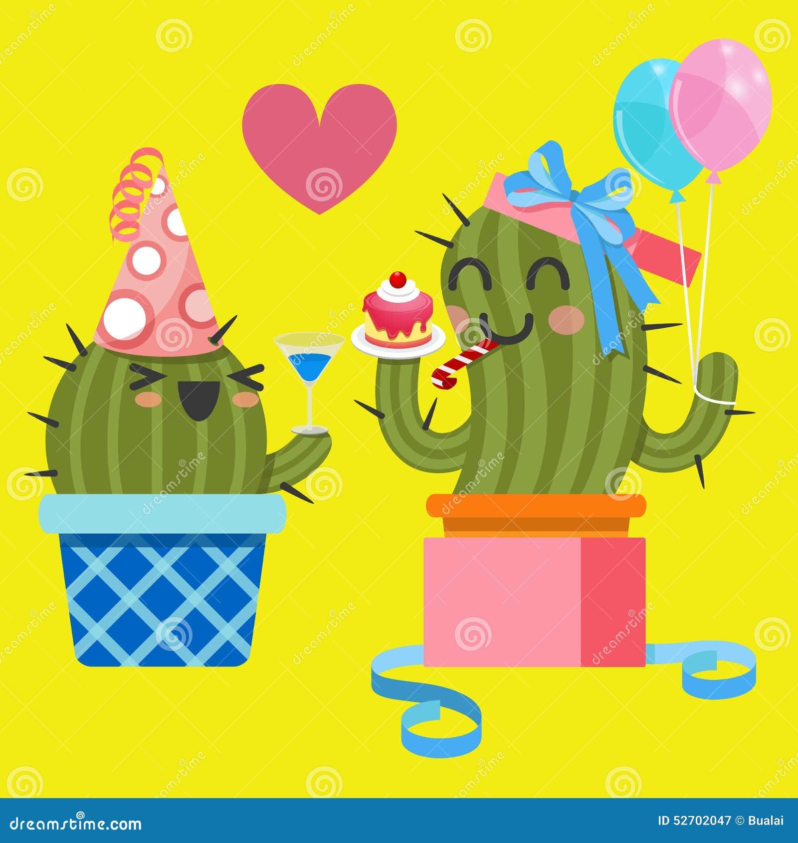 Pares Cariñosos Del Cactus En La Fiesta De Cumpleaños
