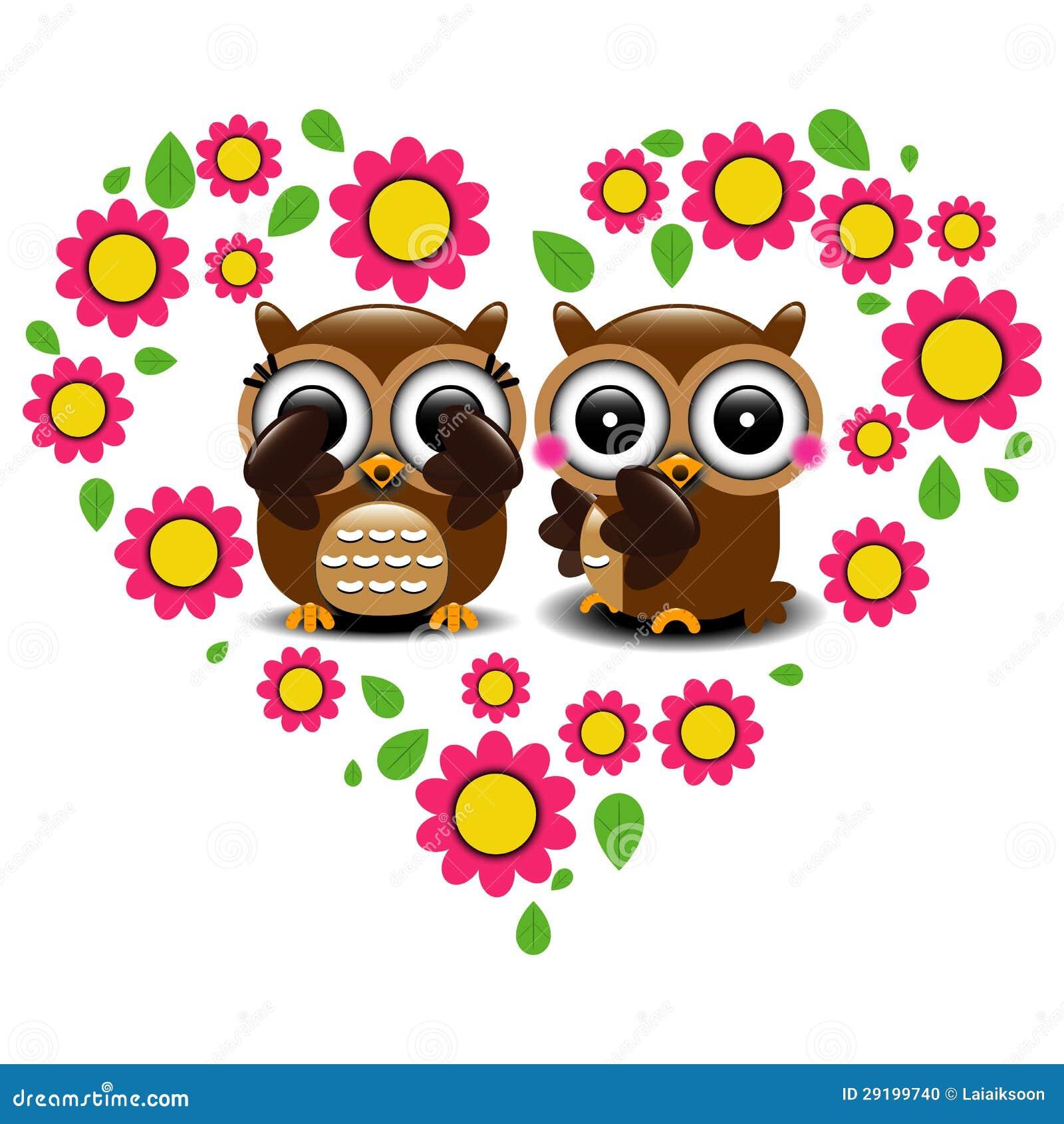 Pares De Búhos En Amor Ilustración Del Vector Ilustración De