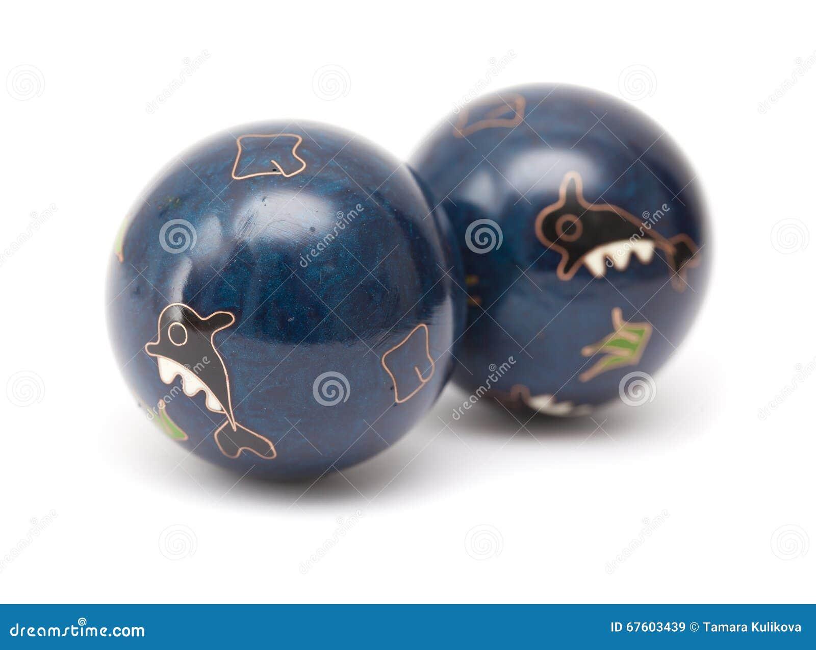 Pares de bolas chinas azules de la meditación