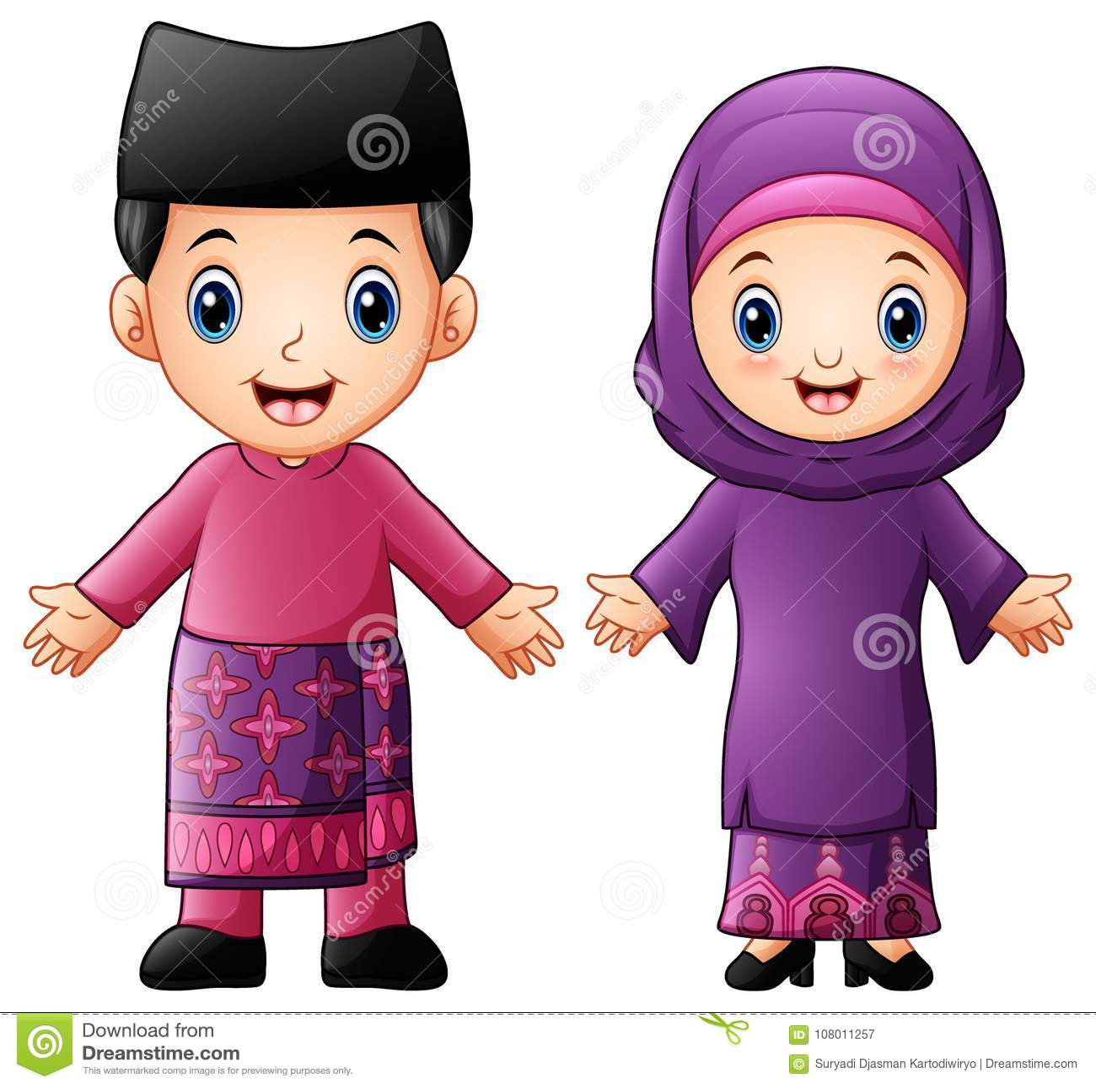 Pares de Brunei de la historieta que llevan los trajes tradicionales
