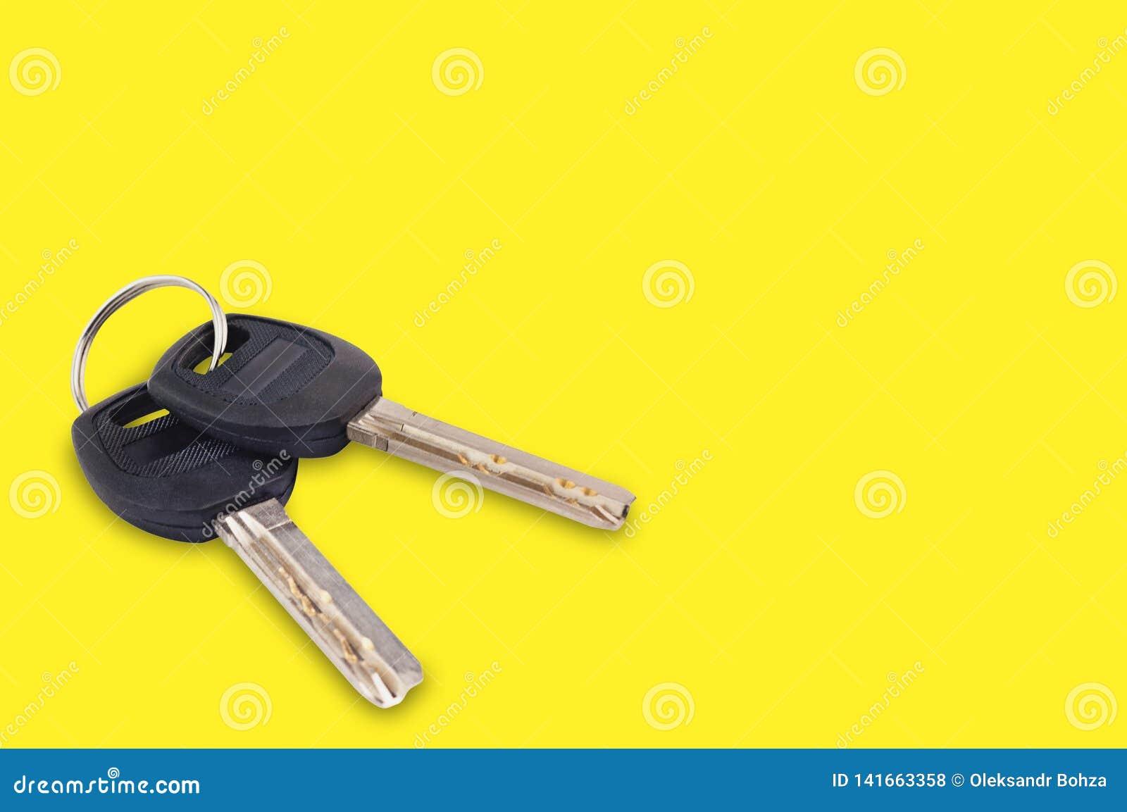 Pares de chaves brilhantes do metal com o punho plástico ou de borracha preto unido do keyring para a porta ou do carro no fundo