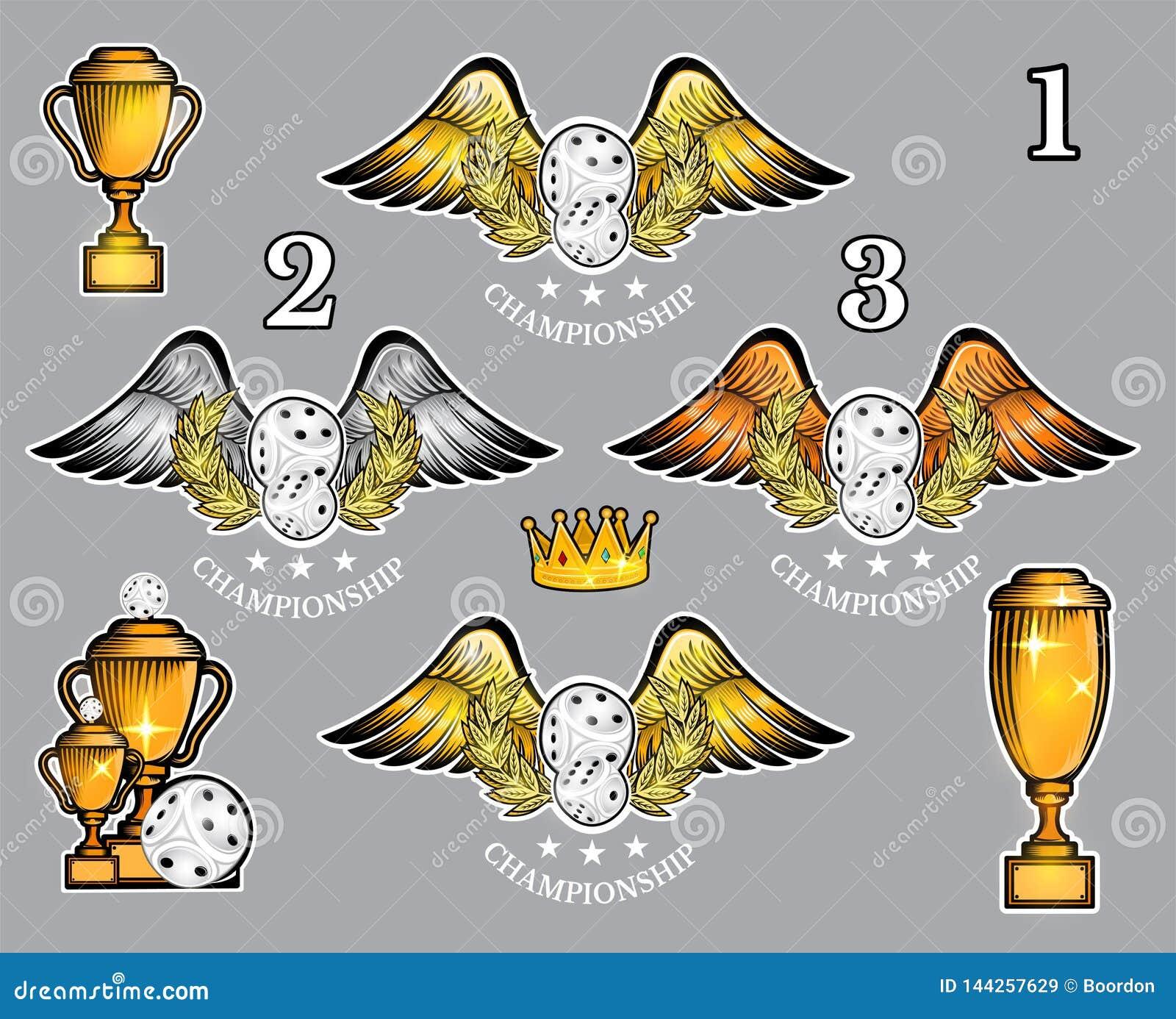 Pares de dados com copos e coroa das asas Grupo do vetor de logotipo do casino ou do jogo de mesa para alguma equipe