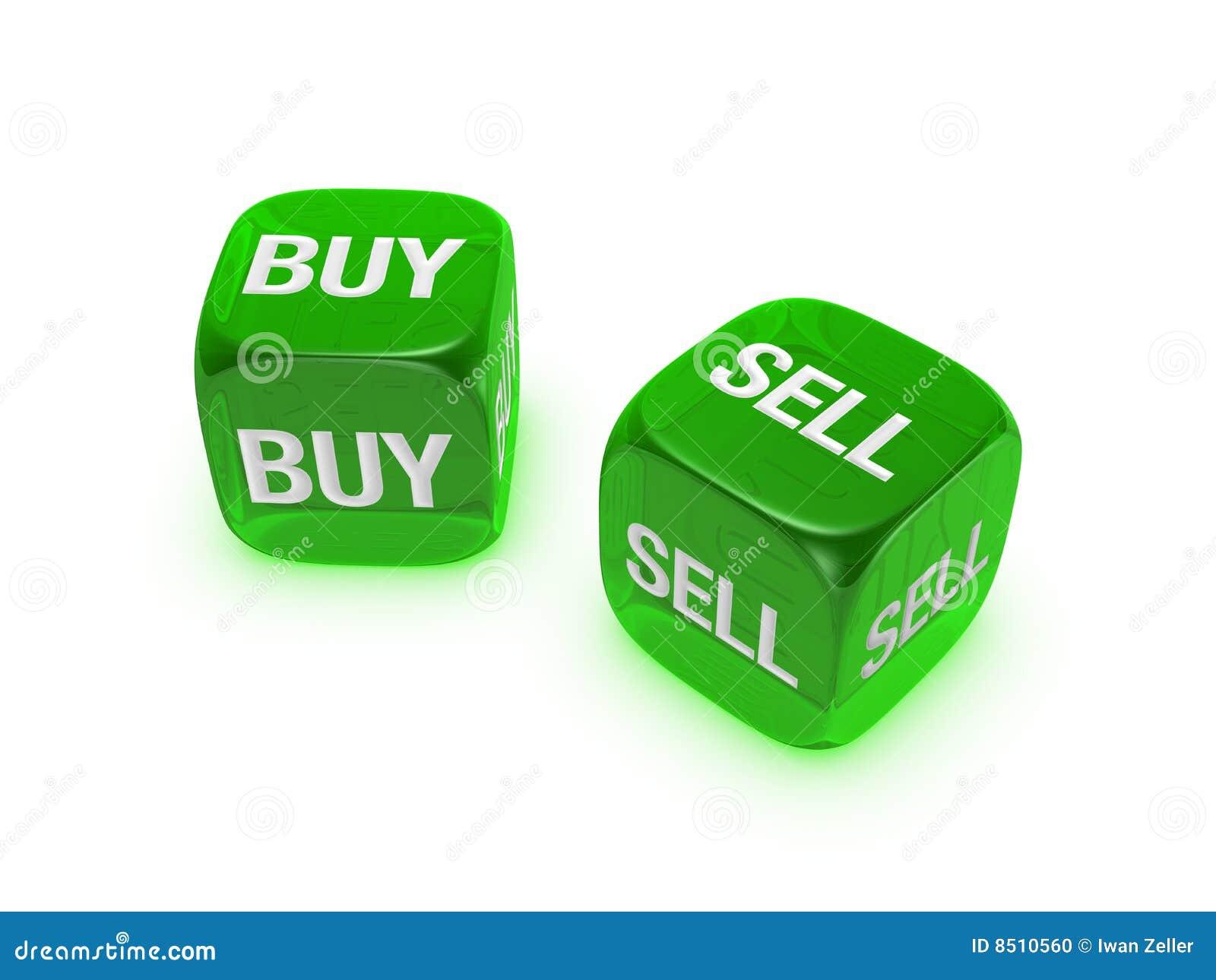 Pares de dados verdes translúcidos com compra, sinal do sell