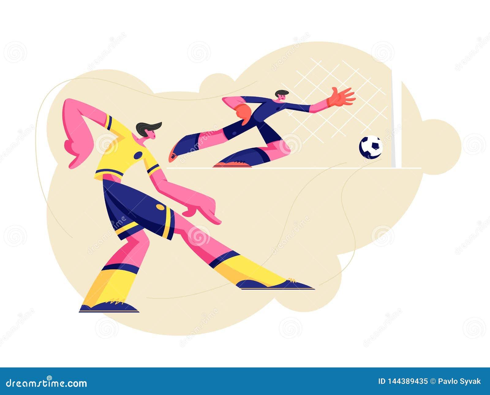 Pares de hombres jovenes en los deportes partido de fútbol practicante uniforme, jugador de fútbol que golpea la bola con el pie,