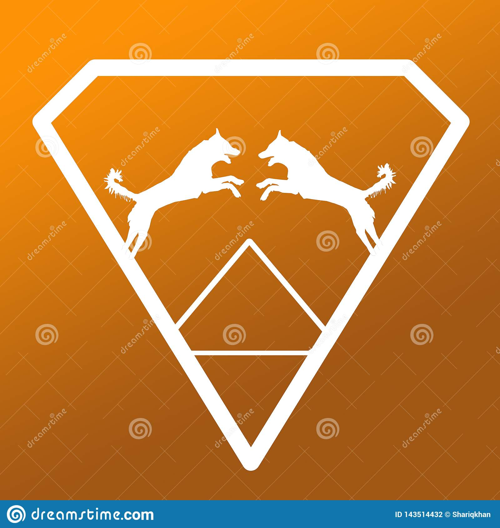 Pares de Logo Banner Image Jumping Dog en Diamond Shape en el fondo de color caqui de Brown