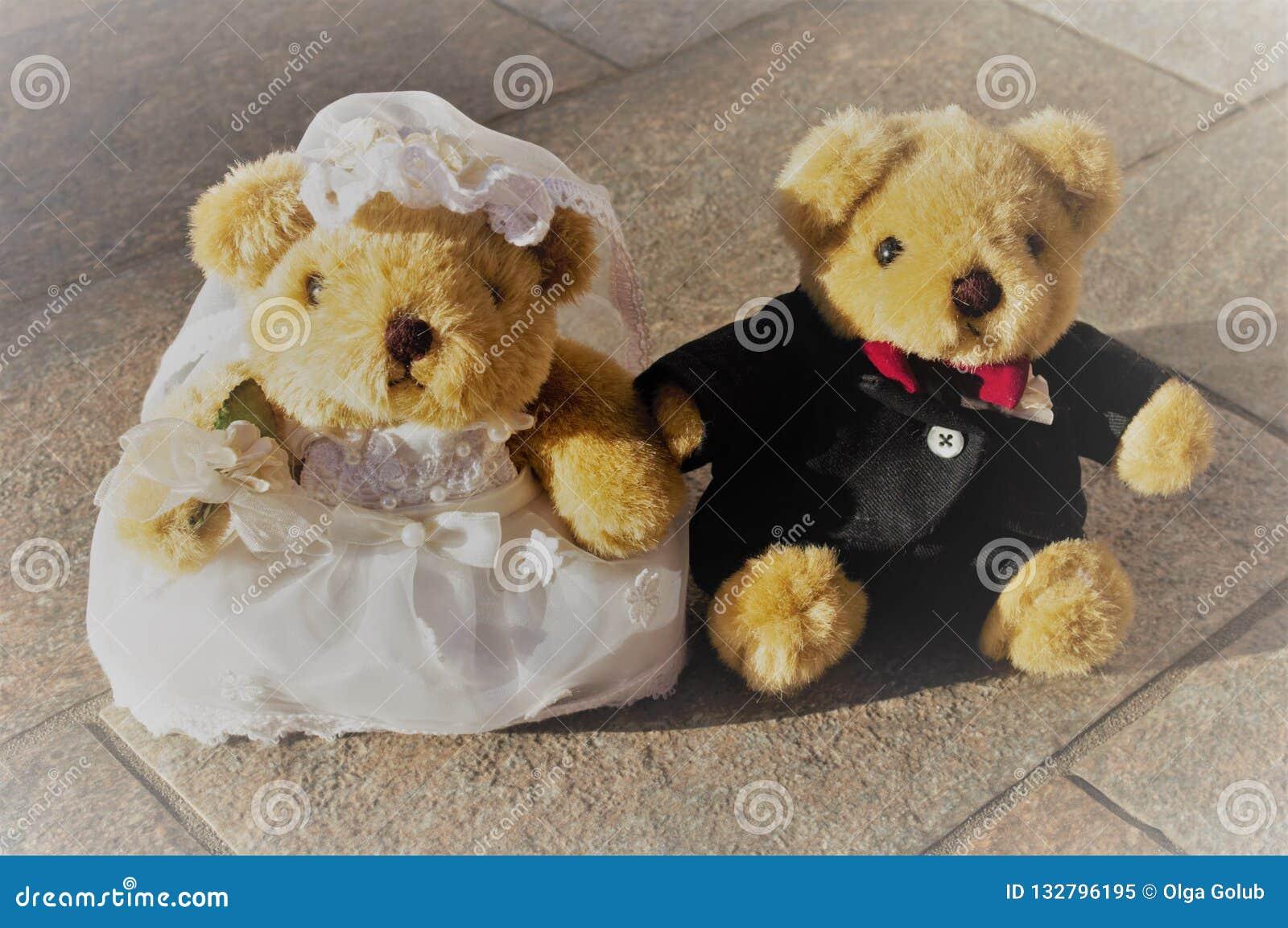 Pares de los osos de peluche del recién casado