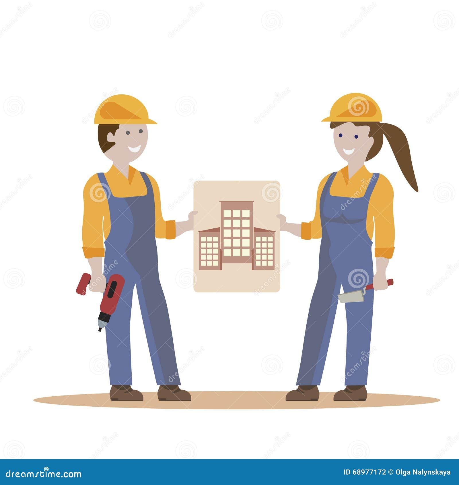 Pares de los trabajadores de construcción