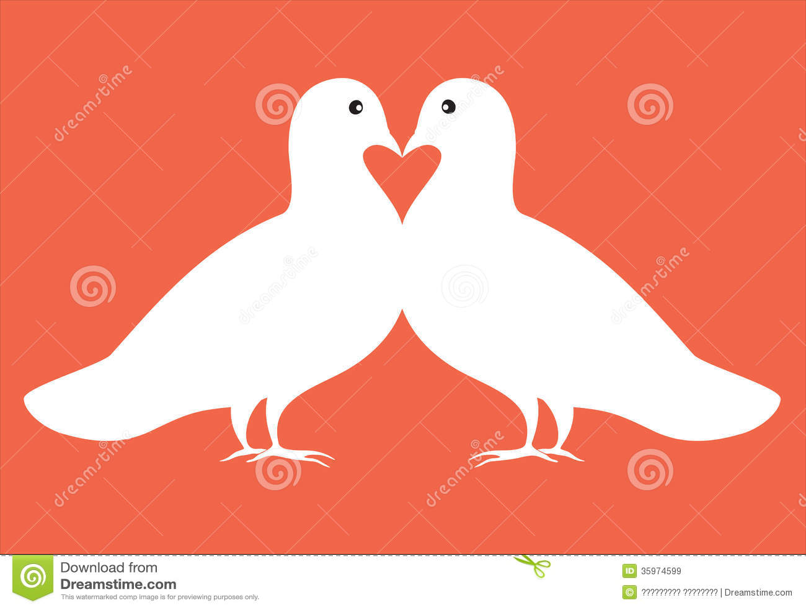 Pares de palomas en tarjeta de la tarjeta del día de San Valentín del ejemplo del amor