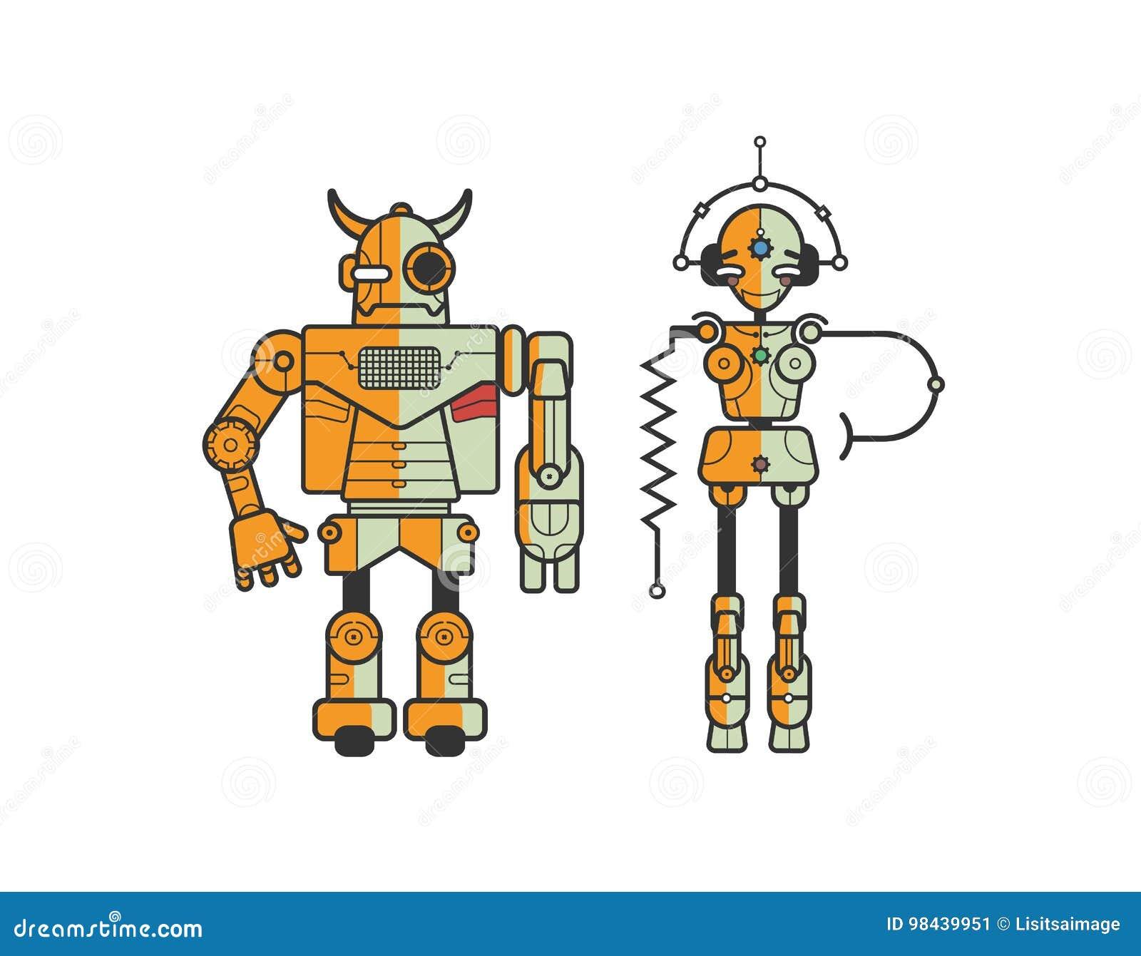 Pares de robots divertidos coloridos de la historieta aislados en el fondo blanco Concepto de monstruo amistoso del androide y de
