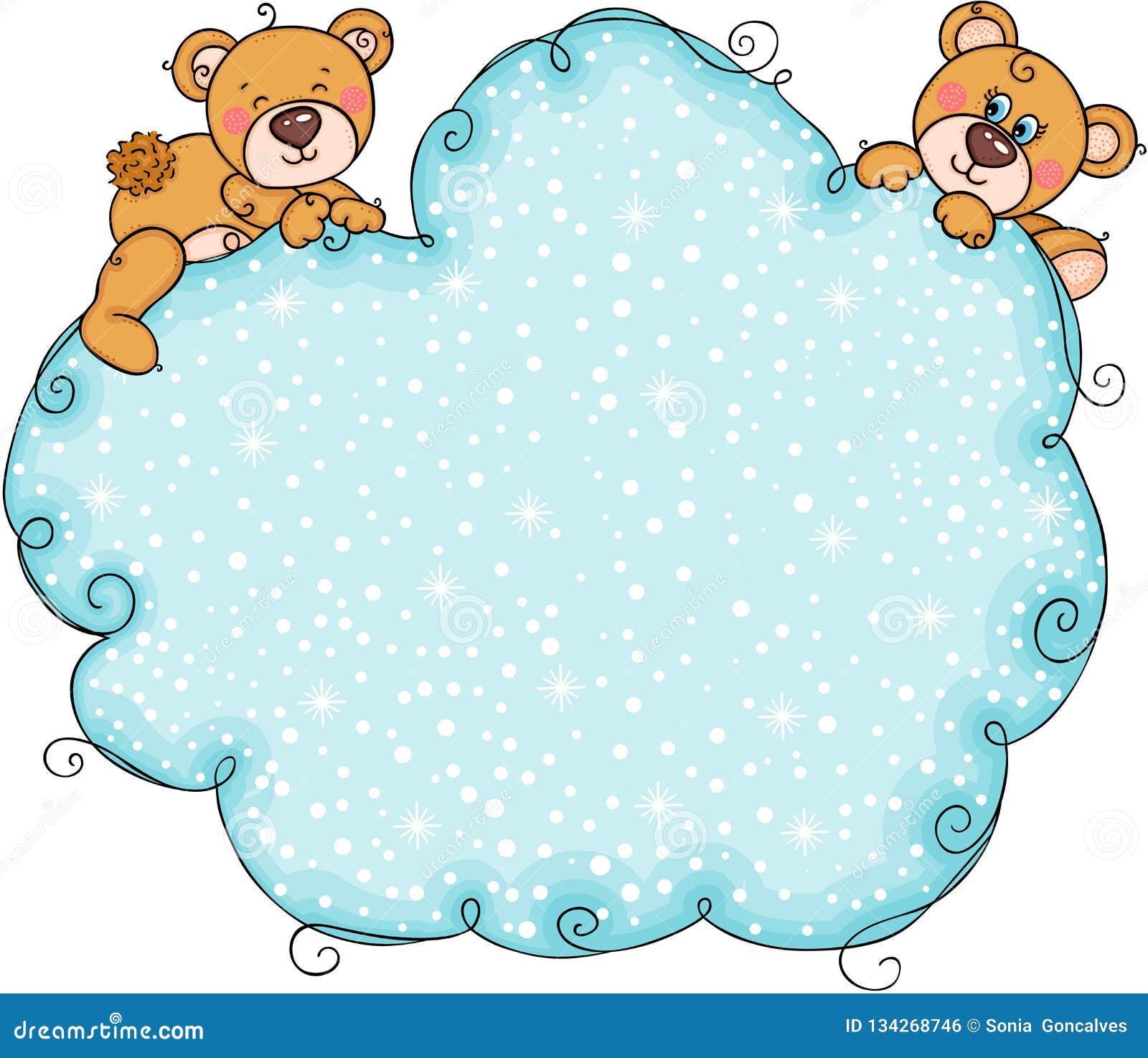 Pares de urso de peluche com fundo azul da nuvem da neve