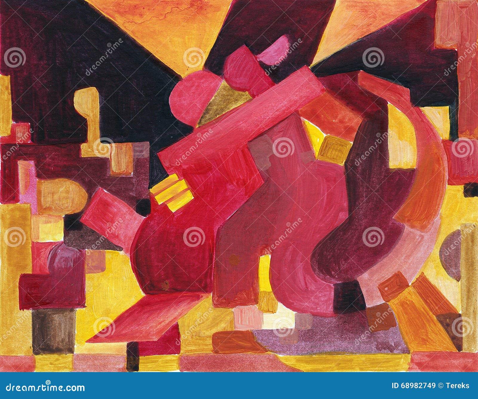 Pares del baile en estilo abstracto