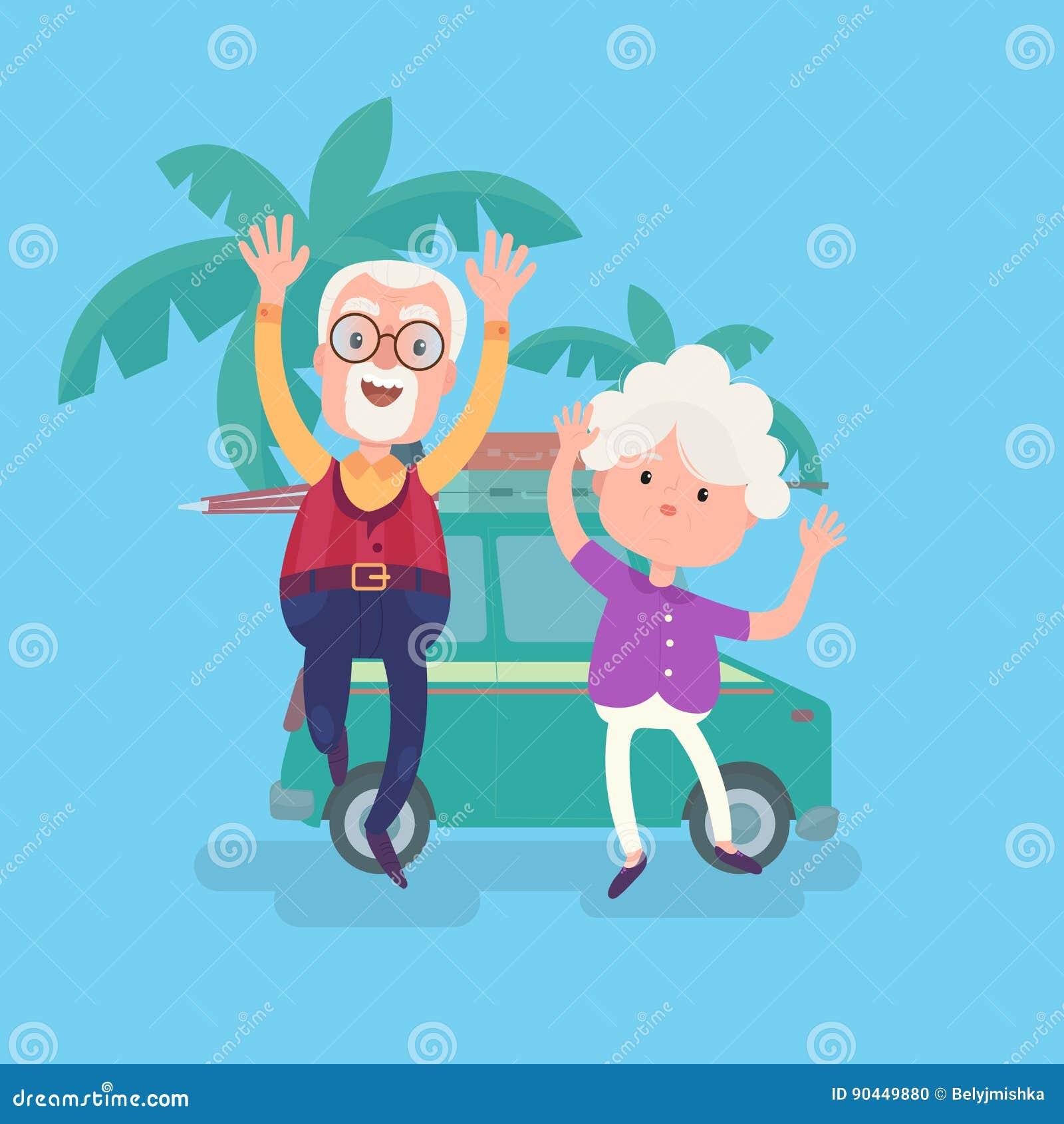 Pares divertidos felices de los abuelos el vacaciones