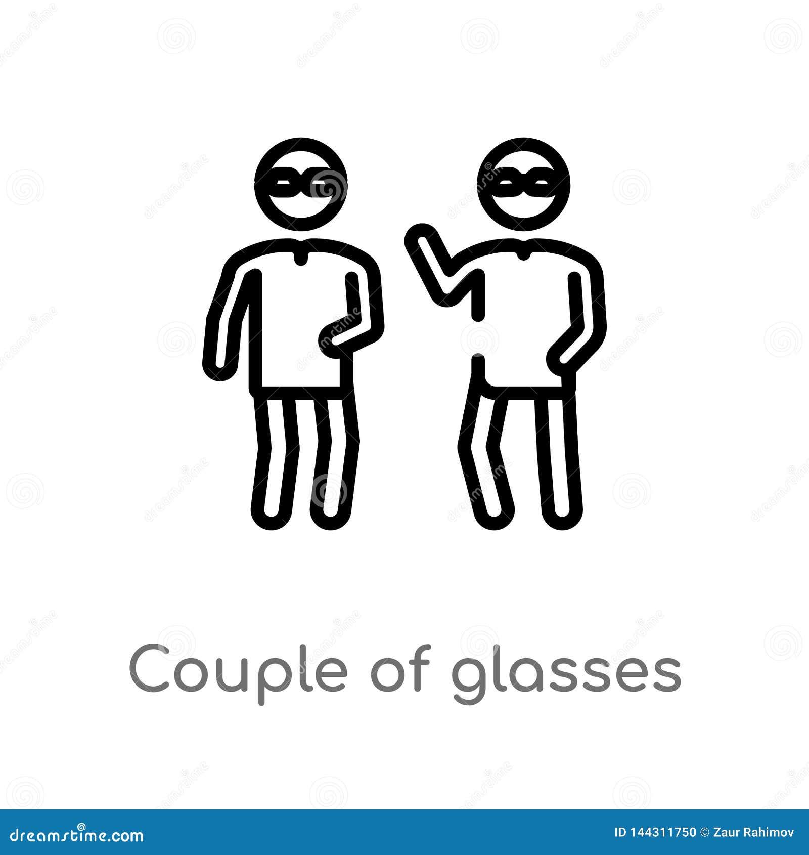 Pares do esboço de ícone do vetor dos vidros linha simples preta isolada ilustração do elemento do conceito dos povos Curso editá