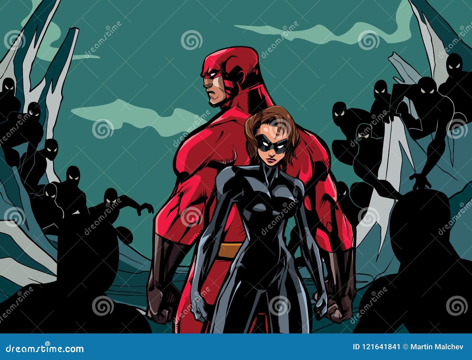 Pares do super-herói contra sequazes
