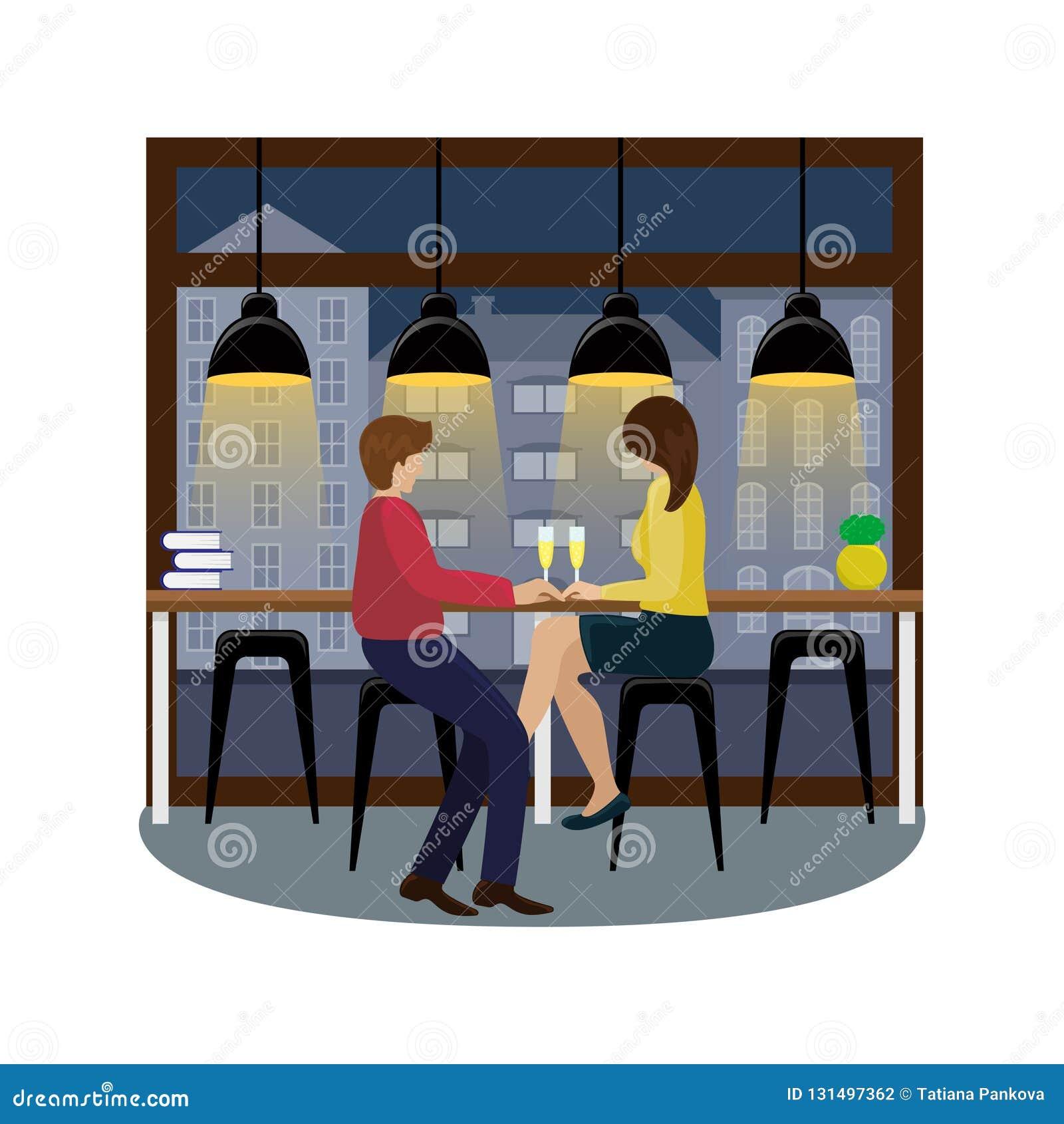 Pares en amor con champán en la barra en la ventana panorámica en el café Vuelo del pájaro - 1