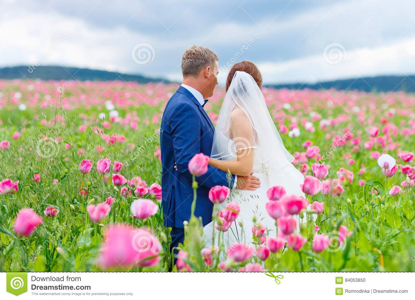 Pares felices de la boda en campo rosado de la amapola