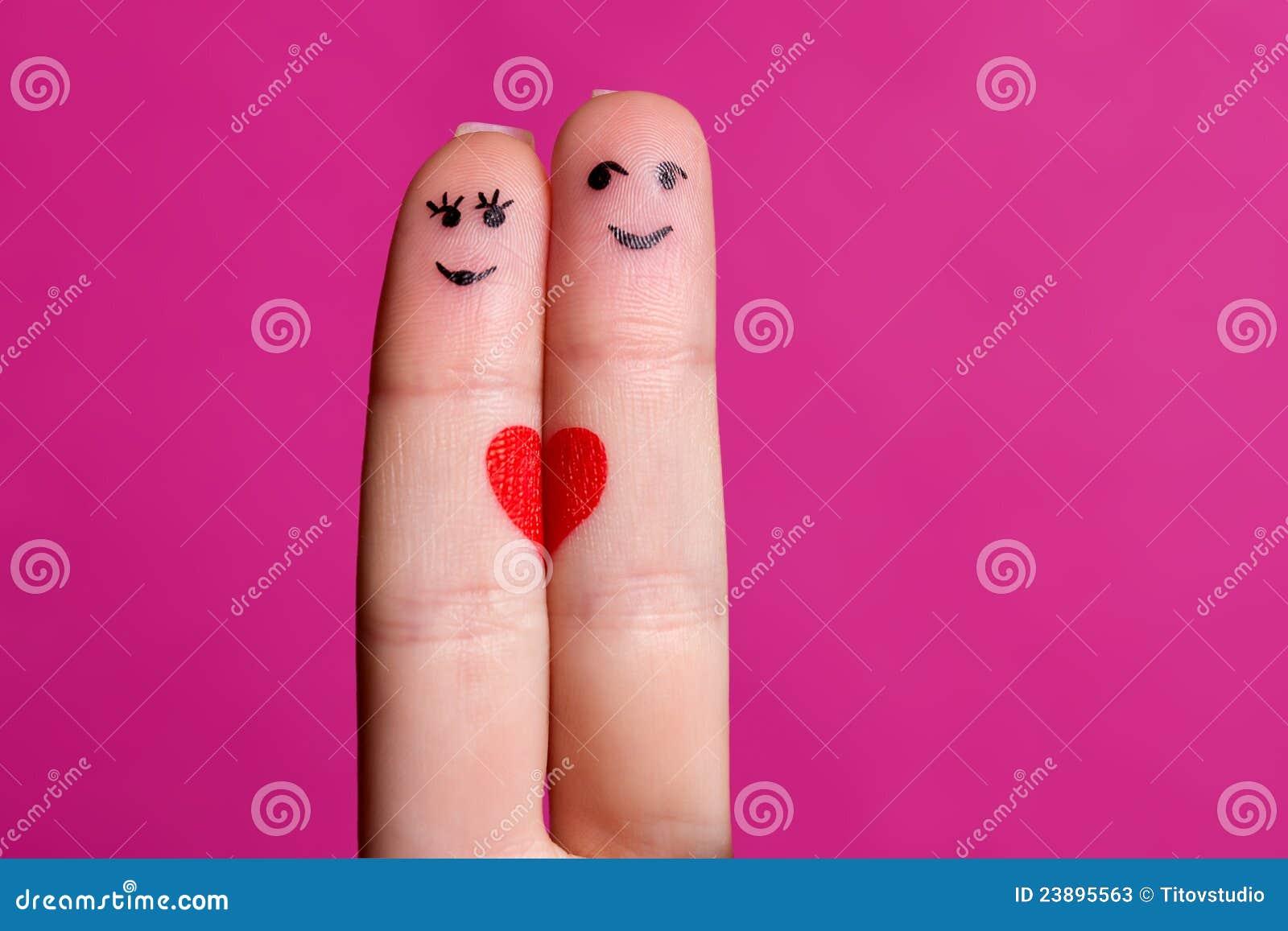 Pares Felices De Los Dedos En Amor Imagen De Archivo Imagen De