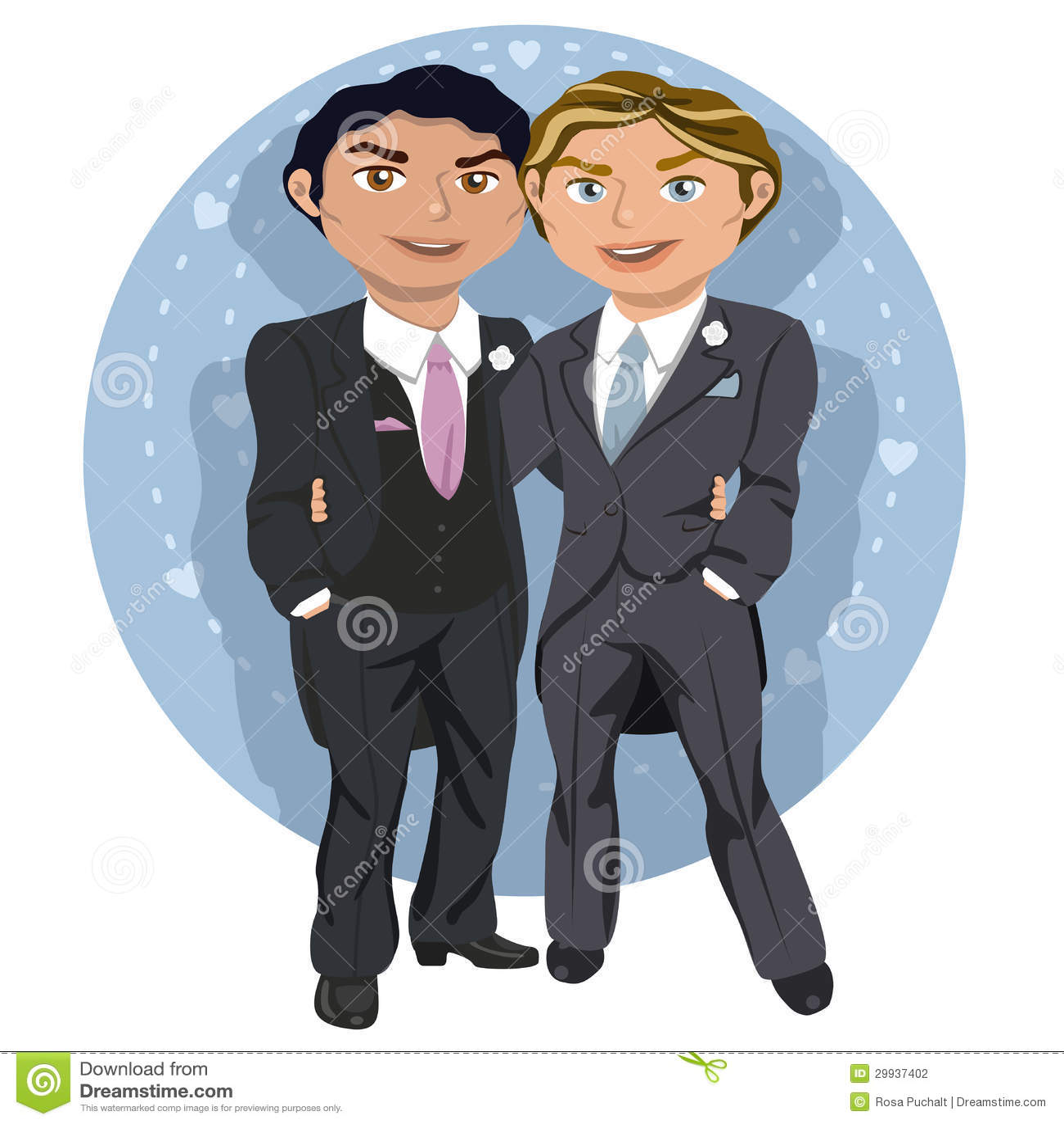 Pares gay jovenes de la boda