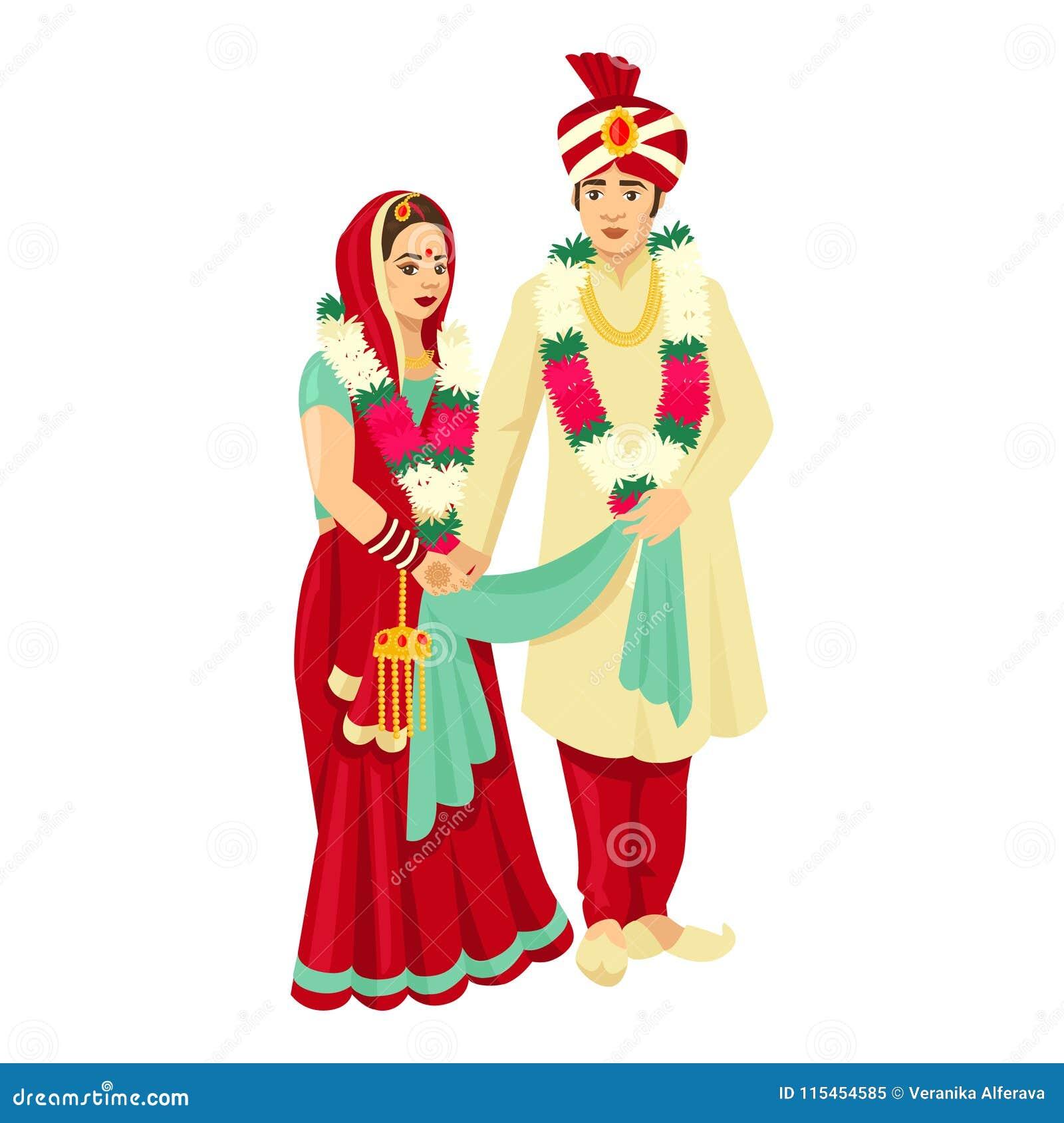 Pares indios de la boda en vestidos tradicionales Diseño del vector para casarse la invitación