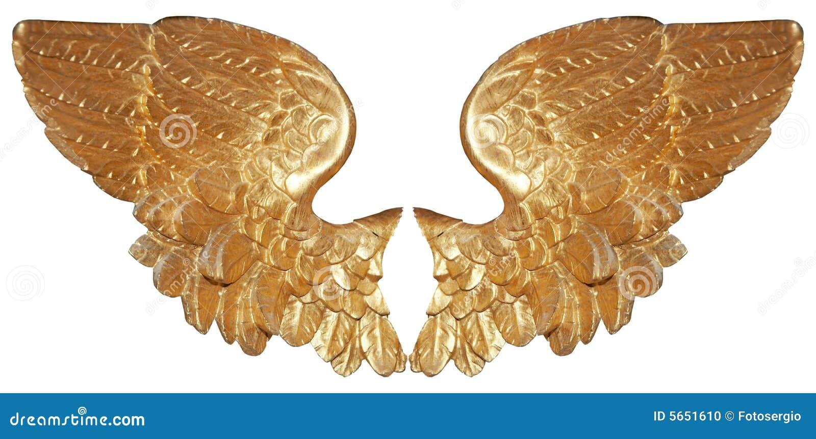 Pares isolados de asas aureate do anjo