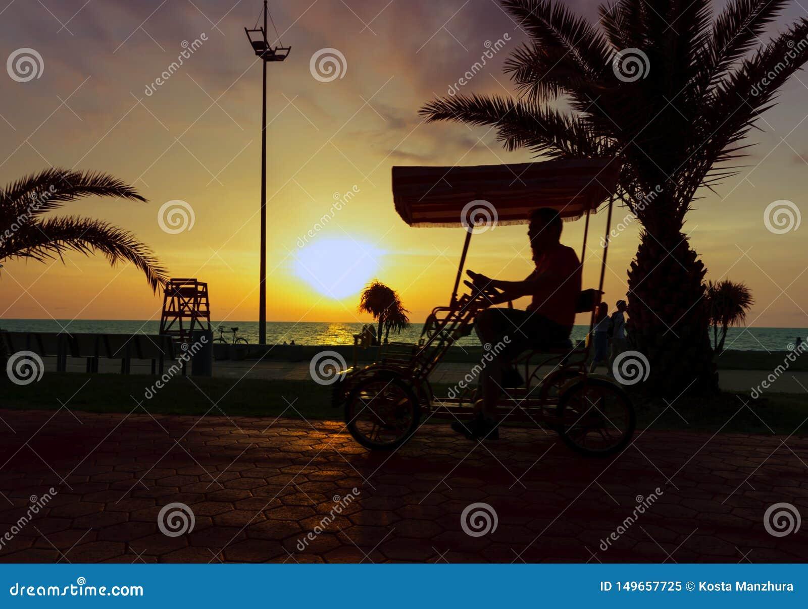 Pares jovenes que montan una bici en t?ndem rom?ntica a lo largo de la orilla del mar en la puesta del sol