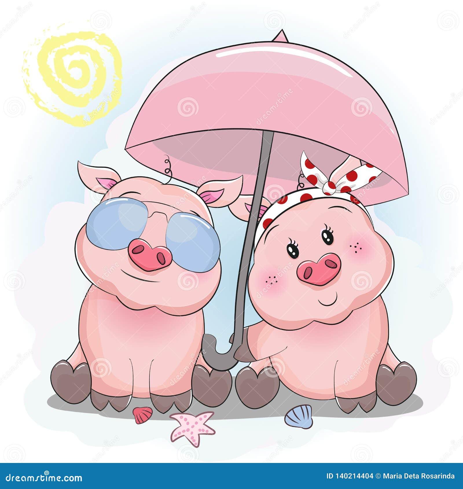 Pares leitães bonitos com vidros do guarda-chuva e de sol na praia