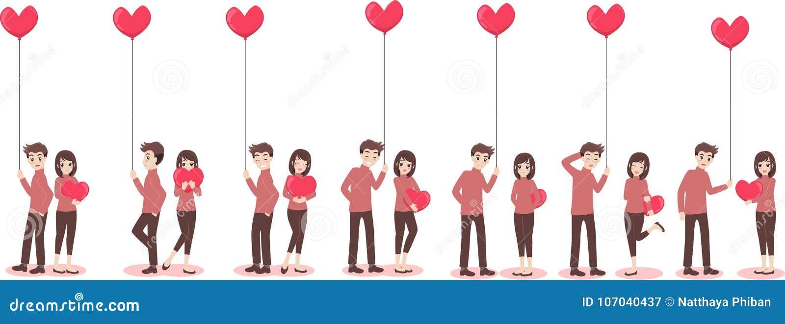 Pares lindos de la historieta del amante para el día del ` s de la tarjeta del día de San Valentín del amor