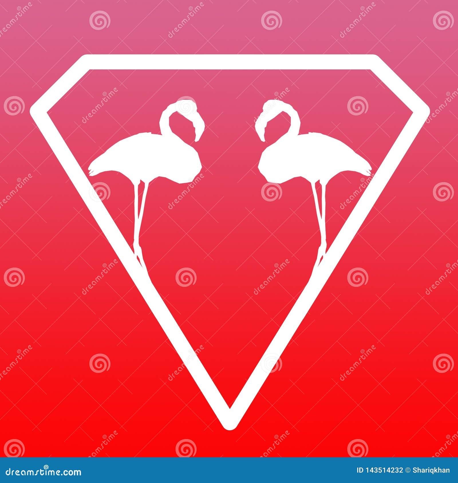Pares Logo Banner Image del flamenco del p?jaro en fondo rosado rojo de la pendiente