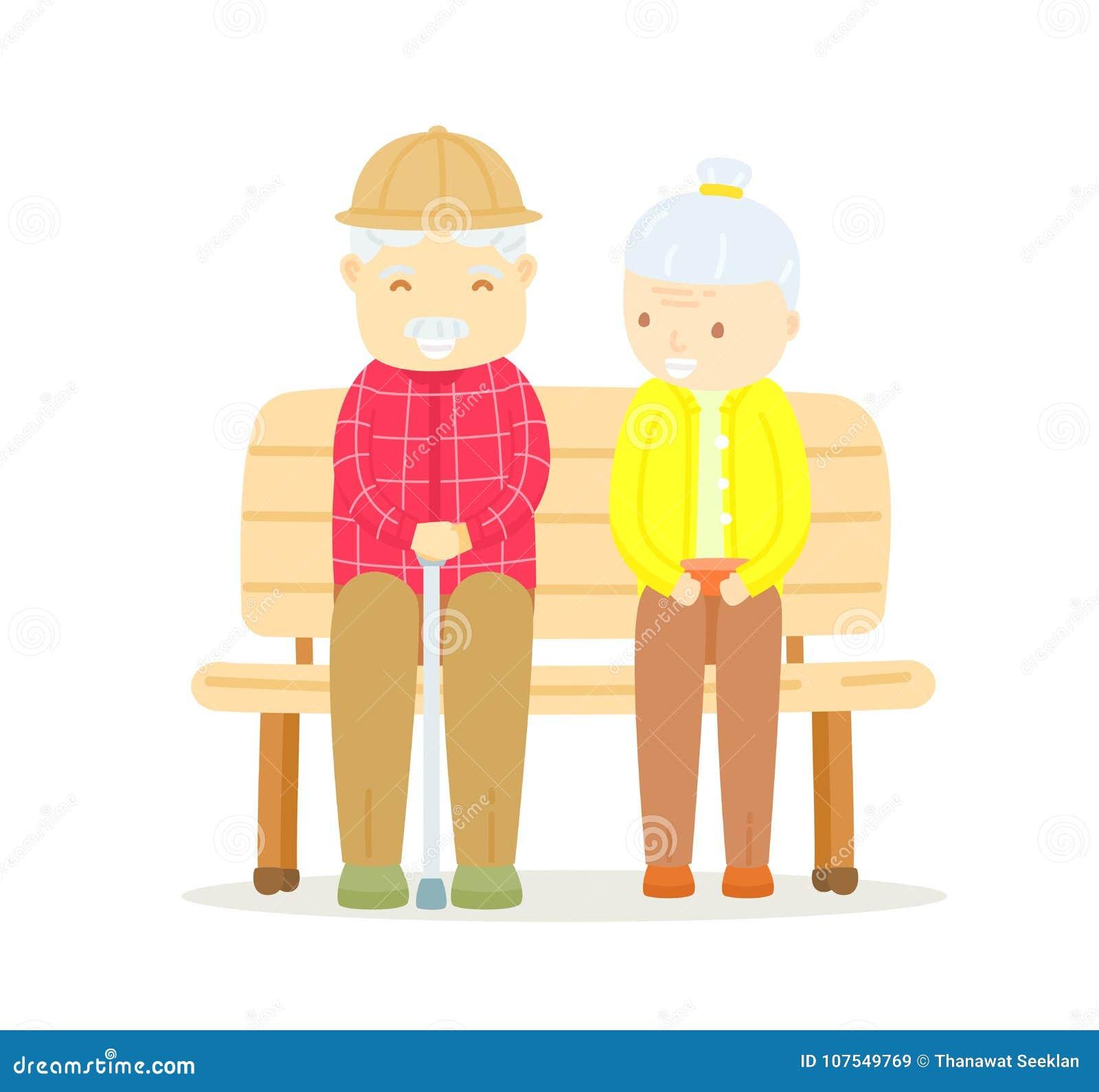 Pares mais velhos que sentam-se no banco