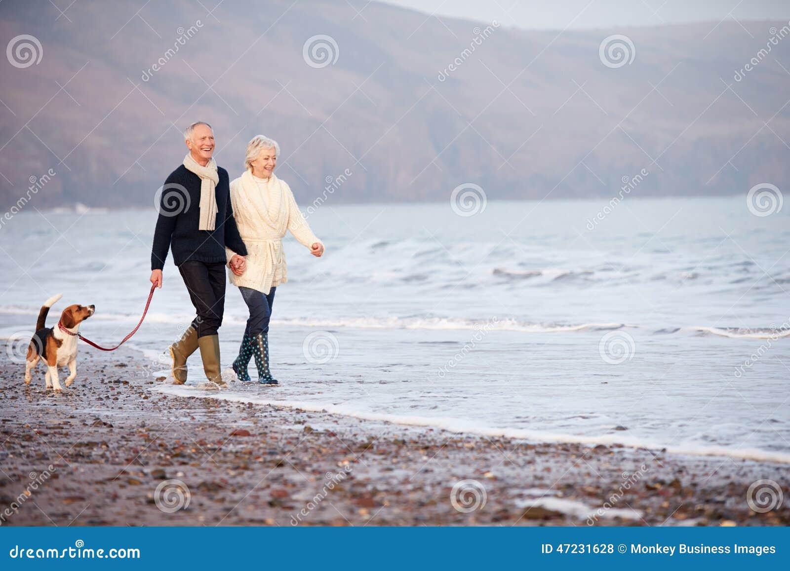Pares mayores que caminan a lo largo de la playa del invierno con el perro casero