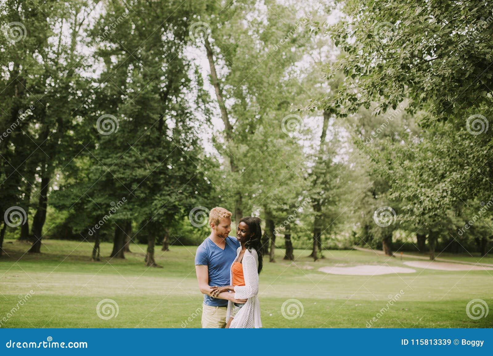 Pares multirraciais no parque