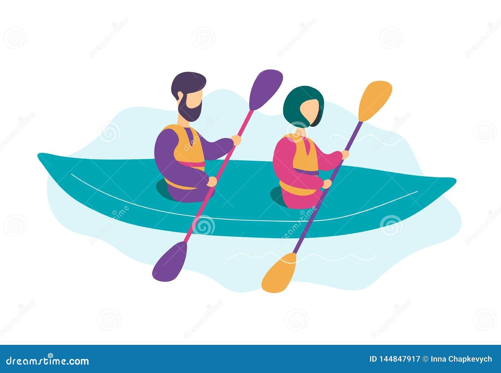 Pares novos modernos bonitos que kayaking