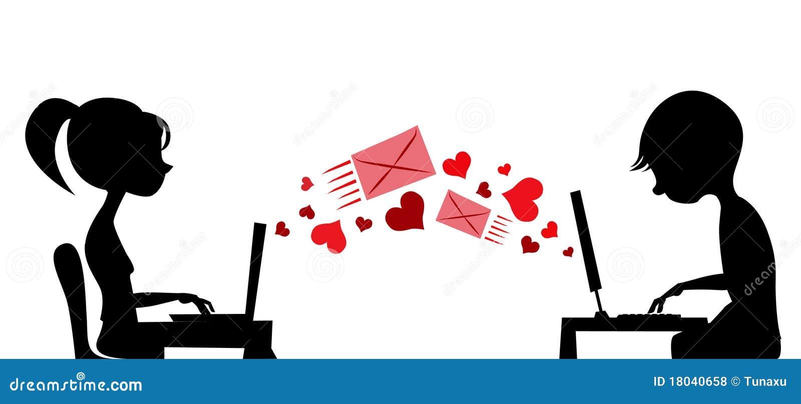 Pares novos que emitem o correio do amor