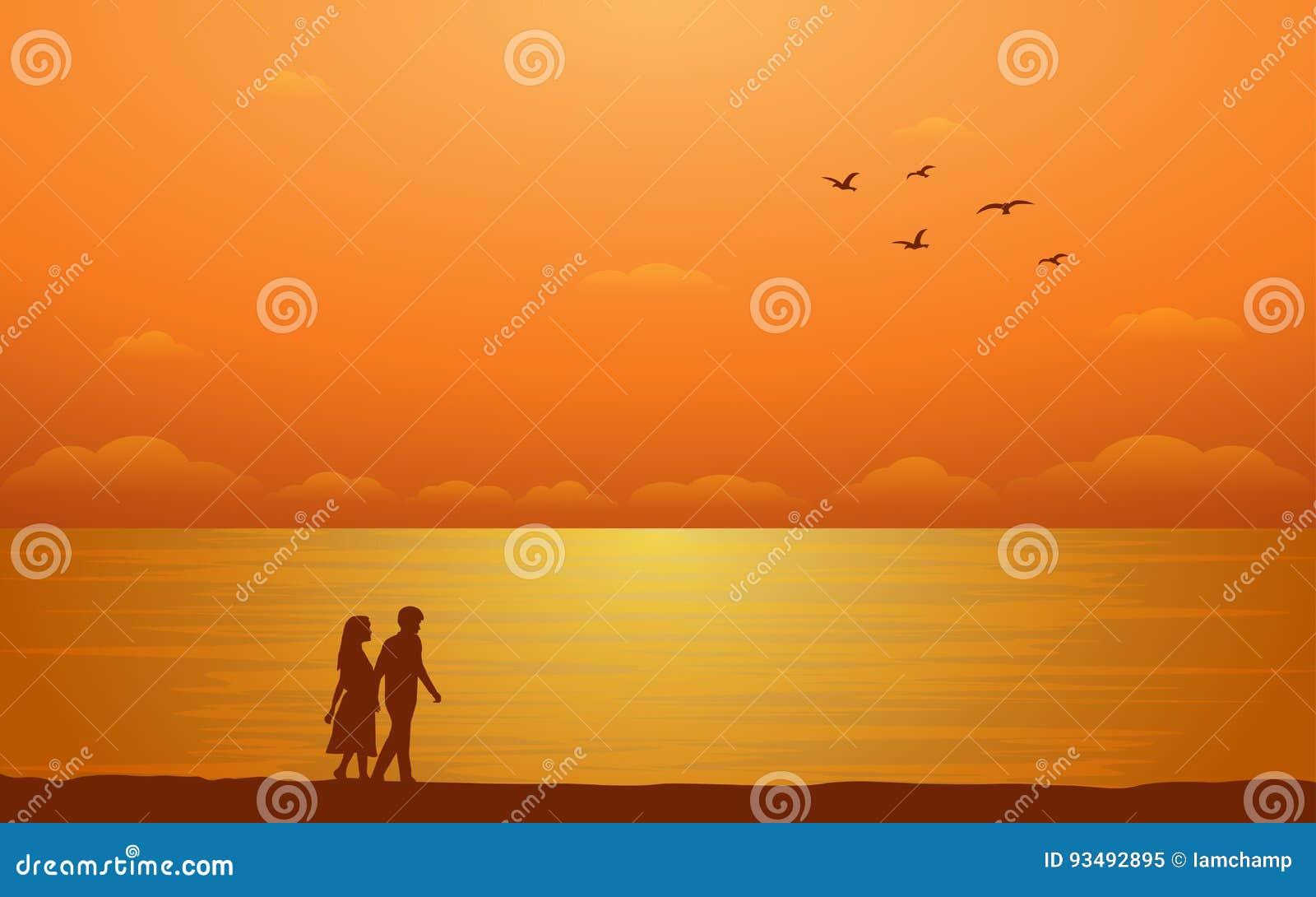 Pares que caminan de la silueta en la playa en diseño plano del icono bajo fondo del cielo de la puesta del sol