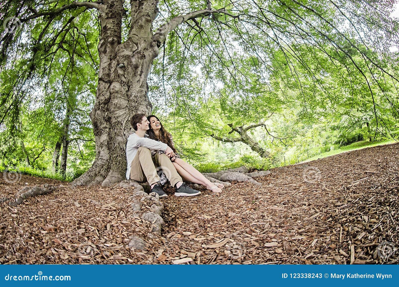Pares que hablan debajo de un árbol grande