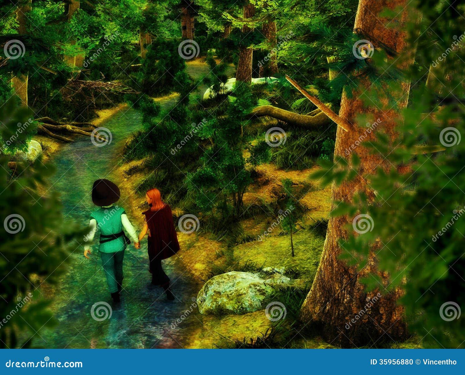 Pares que llevan a cabo las manos que caminan en el bosque