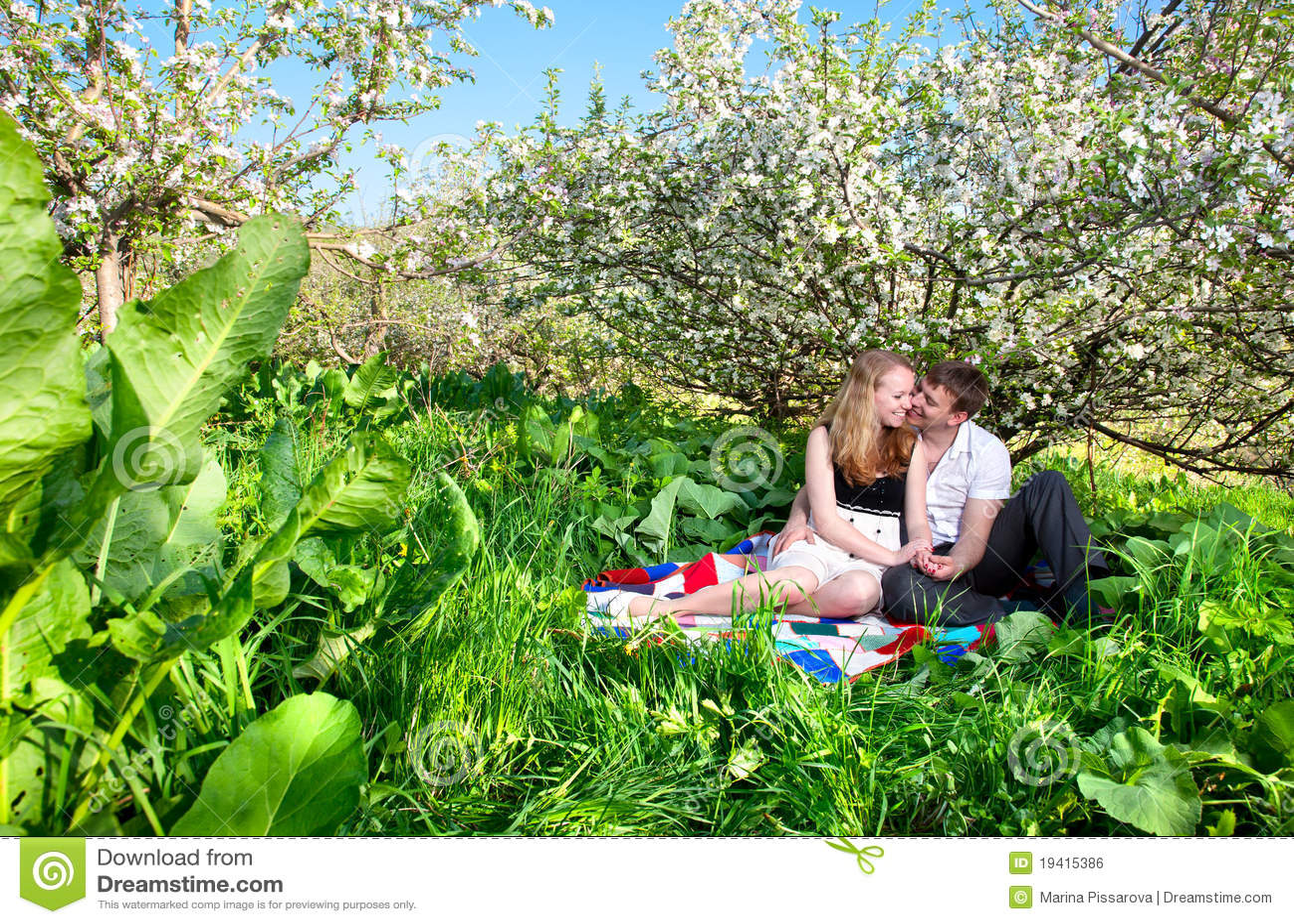 Pares que sentam-se sob a árvore bloomy